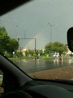Dopo grande pioggia si puo vedere un bel arcobaleno in Prokocim.