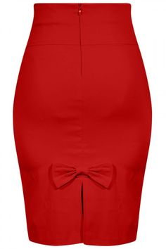 Women's Bow Back Pencil Skirt - Red