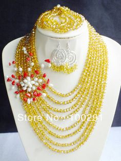 Latest Arrived Design!!! African Wedding Jewelry, Crystal Jewelry Set Necklace Earrings MN-049 $39.37