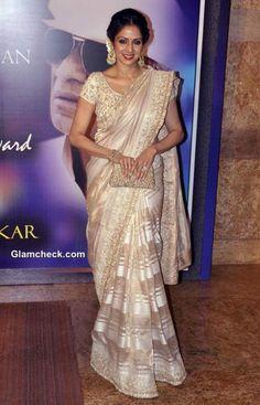 Sridevi in Mahe Ayyappan Sari at Yash Chopra Memorial Awards
