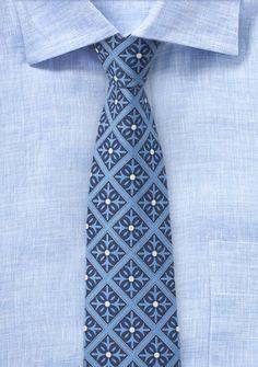 Taubenblaue Kravatte mit Talavera-Pattern