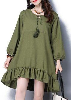 31.74$  Buy now - http://di2q6.justgood.pw/go.php?t=173065 - Long Sleeve Frill Hem Army Green Straight Dress 31.74$