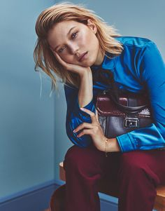 Léa Seydoux by Emma Tempest for The Edit Magazine November 4th, 2015 - Gucci shirt and pants, Miu Miu bag