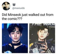 "Sorry to break thus down to the one who posted this, but that ""comic"" seems like a fanart of xiumin for 'The War' as you can see because Minseok's name is clearly written XD Kpop Exo, Chanyeol, Kyungsoo, Kokobop Exo, Bias Kpop, Exo Ot12, Kaisoo, Chanbaek, Steven Universe"