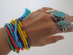 Prism Rainbow Ethnic Tribal Beaded Wrap Bracelet Necklace, Orange Red Turquoise Blue Yellow, Boho Hippie Beads // Lovingly pinned by The Rainbow Farmer https://www.etsy.com/shop/TheRainbowFarmer