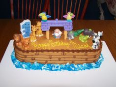 Noah's Ark birthday cake!! My husband made this for our sons first birthday party.