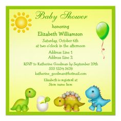 Adorable dinosaur baby shower invitations boy shower invitations newly hatched baby dino dinosaurs baby shower card filmwisefo