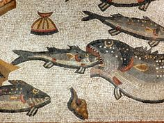 Lod Roman mosaic, marine detail. http://helenmilesmosaics.org/mosaic-sites/lod-roman-mosaic/