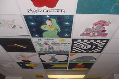 I like the idea of having students painting celling tiles with a history theme for extra credit.