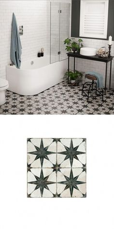 Create a statement floor in your bathroom, kitchen, hallway or lounge with these. Create a statement floor in your bathroom, kitchen, hallway or lounge with these striking Scintilla Room Tiles, Bathroom Floor Tiles, Bathroom Wall Decor, Bathroom Layout, Bathroom Colors, Small Bathroom, Tile Floor, Bathroom Black, Bathroom Ideas