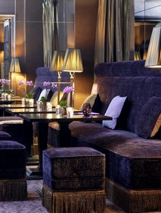 love purple velvet--seems so regal and rich--great with bullion fringe here, too--**The Westin - Vendome in Paris