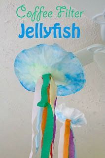Make Your Own Simple Colorful Coffee Filter Jellyfish Craft is part of Kids Crafts Ocean Coffee Filters - This simple and colorful coffee filter jellyfish craft is a great art project for the kids as well as a lovely under the sea party decoration! Ocean Activities, Preschool Activities, Vocabulary Activities, Summer Activities, Coffee Filter Crafts, Coffee Filters, Art For Kids, Crafts For Kids, Craft Kids