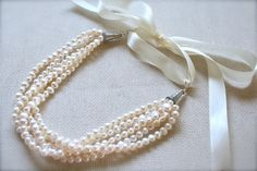 Pearl Necklace, Bib Necklace, Freshwater Pearl, Stranded Necklace, Wedding Jewelry, Bridal Jewelry. $57.44, via Etsy.