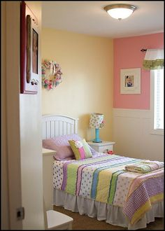 Little Girl Bedroom Re-design.  Love the 2 tone paint, and pictures of the child with her parents, and as a cute baby.  Doing this!