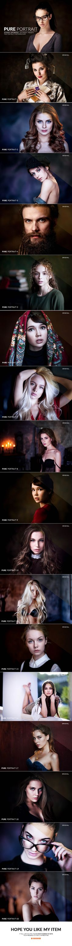 20 Pure Portrait Lightroom Presets. Download here: https://graphicriver.net/item/20-pure-portrait-lightroom-presets/17391687?ref=ksioks