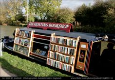 The Floating Bookshop (2008) © 'Quilted/ (Photographer. Leicestershire, ENGLAND) via flickr. Canal Boat. Used Bookshop. UK ...