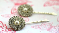 Set of Two Hairpins By Twinkle Jewellery - Vintage Style, Hollywood Glamour, Bridal, Diamante & Pearl by twinklejewellery on Etsy