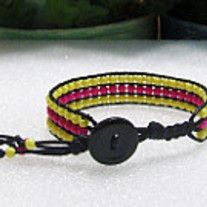 """Beaded Cuff Bracelet, Wrap Bracelet, Bohemian Jewelry, Hippie,  Dress it up or dress it down. Pink and Yellow Acrylic Beads Black Button Closure For Ease Of On/Off Fits 7 1/2"""" Wrist Makes A Great Gift, Stocking Stuffer"""