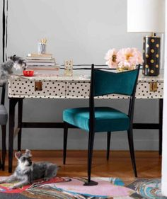 Don't even get us started on this polka dot Downing Desk (paired with a not too matchy-matchy lamp).