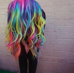 Mermaid Hair Unicorn Hair Rainbow Hair color gone wild by Toni Rose Larson @colordollz hotonbeauty.com