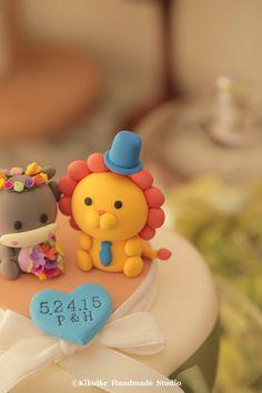 Handmade lovely Dragon and cute lion wedding cake topper