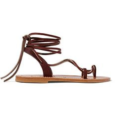 K Jacques St Tropez Lucile leather sandals ($205) ❤ liked on Polyvore featuring shoes, sandals, brown, leather shoes, leather strappy sandals, tie shoes, brown shoes and strappy shoes