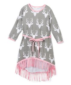 This Gray & Pink Deer Hi-Low Dress - Infant, Toddler & Girls is perfect! #zulilyfinds