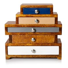 This is lovely and would sit perfectly on my chest of drawers - Five Drawer Wooden Jewellery Box