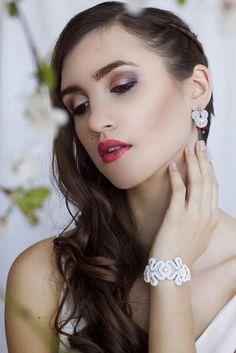 Little earrings soutache - pearls - white-red-silver by SzkatulkaEmi on Etsy