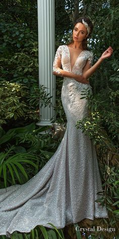crystal design 2018 three quarter sleeves deep v neck full embellishment elegant fit and flare wedding dress keyhole back sweep train (mireya) mv -- Crystal Design 2018 Wedding Dresses