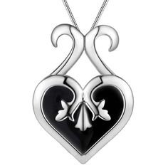 2016 fashion design silver heart charm pendant necklace jewelry black beautiful birthday gift top quality global hot