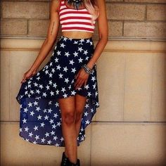 Top 16 4th Of July Outfit Ideas For Women I'd love to sew this skirt. Its just brilliant.