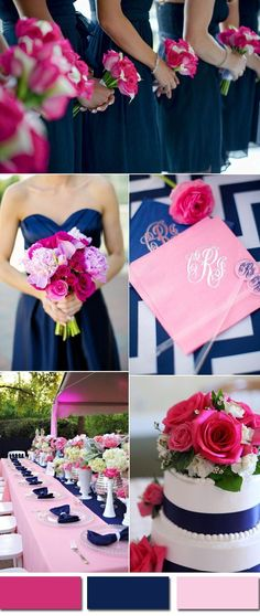 lovely bright pink and blue garden wedding ideas