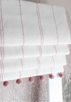 Very pretty linen Roman blind with blackout lining and cute pink pom pom trim along the bottom. Pink Roman Blinds, Linen Roman Shades, Blackout Roman Blinds, Diy Blinds, Fabric Blinds, Curtains With Blinds, Curtains And Blinds Together, Pom Pom Curtains, Gypsy Curtains