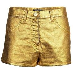 Superbe Chanel Golden Hot Pants ($2,950) ❤ liked on Polyvore featuring shorts, chanel, chanel shorts, micro shorts, mini short shorts and hot pants