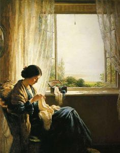 Sewing Fisherman's Wife - 1890 by William Kay Blacklock (British, 1872-1924)