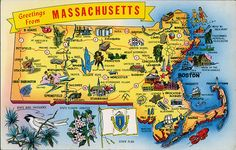 massachusetts  postcard | postcard - Massachusetts map | Flickr - Photo Sharing!