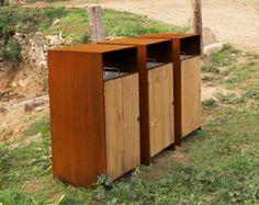 Corten Litter Bin Street Furniture Benito Woodscape