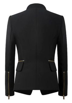 Leather-Sleeved Black Blazer