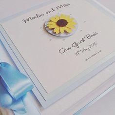 Sunflower wedding guest book  #weddingguestbook #weddings #summerweddings #sunflowerwedding #sunflowers www.ohsopurrfect.co.uk  www.facebook.com/ohsopurrfect