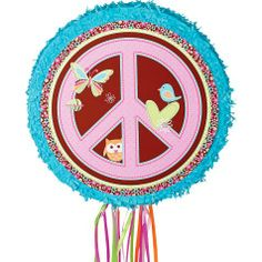 Hippie Chick Round Pinata 17in - Party City