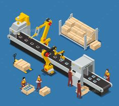 Buy Electronics Factory Isometric Composition by macrovector on GraphicRiver. Electronics factory isometric composition with engineer monitoring robotic conveyor and workers stacking production i. Robotic Science, Art Design, Graphic Design, Design Sites, Software, Isometric Design, Electronic Engineering, Photoshop, Vector Photo