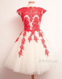 red lace tulle short prom dress