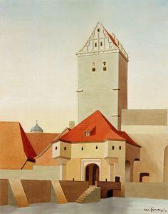 """CARL GROSSBERG - (German 1894–1940) - """"Dinkelsbuehl - Rothenburger Tor"""""""