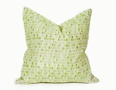 Green Cream Decorative Pillow Cover by PillowThrowDecor on Etsy