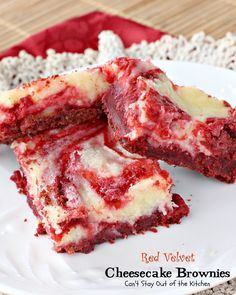 Red Velvet Cheesecake Brownies have a red chocolate brownie layer swirled with a cream cheese layer. Absolutely magnificent. Great for Valentine's Day.