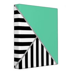 Trifold Teal and Stripes 3 Ring Binders
