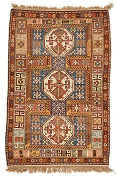 SHIRVAN antique.Blue ground with three white medallions. The entire carpet is…