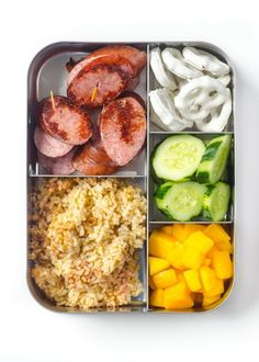 1. Food on Sticks Think chicken satays, beef skewers, or sausage kebabs, packed on lunchbox-sized sticks for kids.  Pack with: Rice, sliced cucumbers, sliced mango, yogurt-covered pretzels