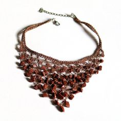 Mahogany Bib Crochet Necklace Beaded Jewellery by aniesjewelry Crochet Bib, Crochet Necklace, Beaded Necklace, Beaded Jewellery, Textile Jewelry, Morhers Day Gifts, Jewelry Trends, Necklace Lengths, Gemstones